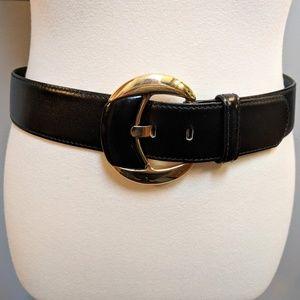 ESCADA Wide Black Leather Belt wth Big Gold Buckle